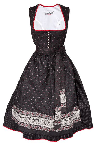 Midi DIrndl Kathi in schwarz mit roten Blumen und Schößchen