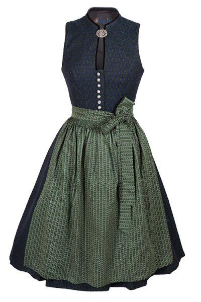Midi Dirndl Elke in blau und grün aus Wolle mit Brosche und Stehkragen von WIRKES