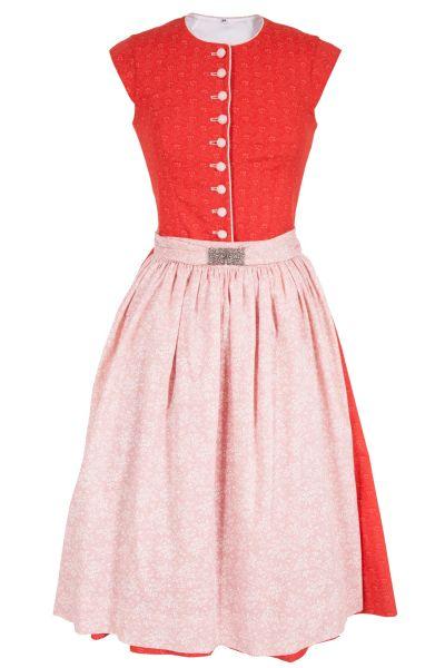 Traditionelles Designer Dirndl in rot und rosa hochgeschlossen