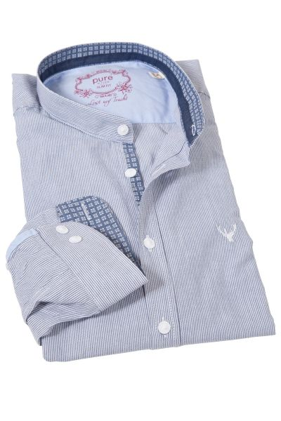 pure Trachtenhemd in blau gestreift mit Stehkragen