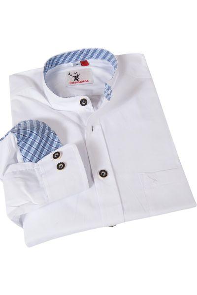 Trachtenhemd weiß mit Stehkragen Slim Fit