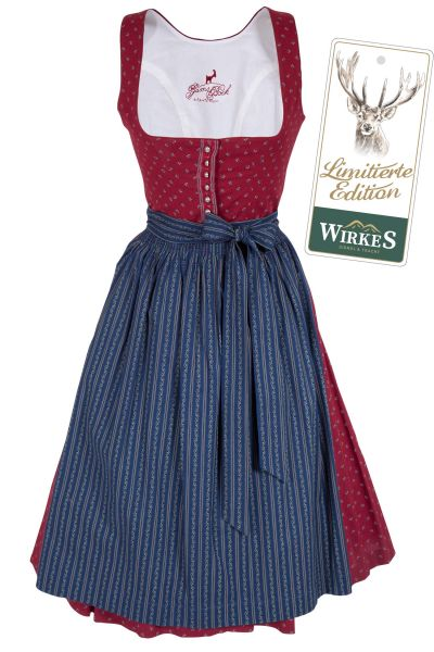Midi Dirndl Flora traditionell in bordeaux und dunkelblau Limited Edition