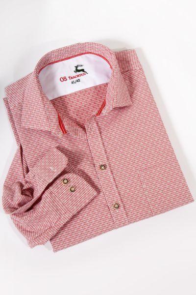 Trachtenhemd mit rot-weissem Strukturkaro von OS Trachten