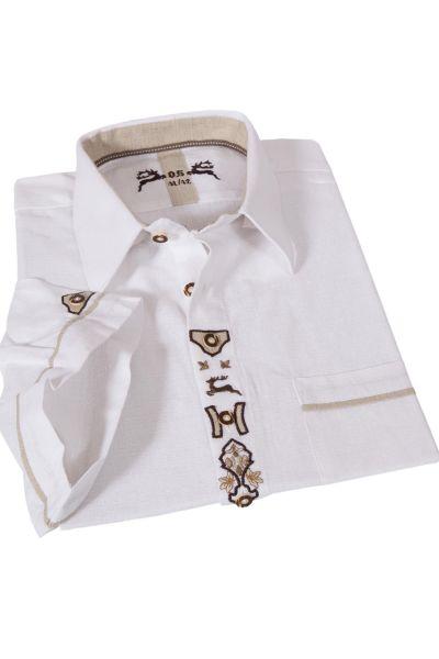 Leinen Trachtenhemd weiß Landhaus Kurzarm